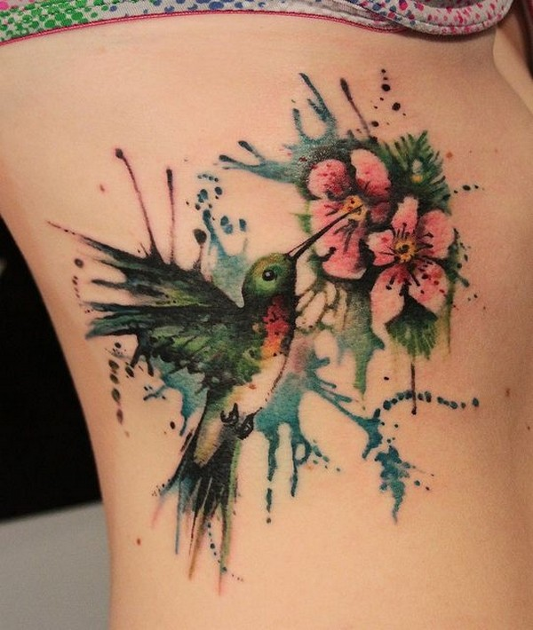 Impressive Watercolor Bird Tattoo Made On Women Ribs Side