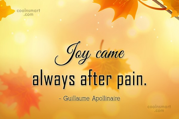 Joy came always after pain.Guillaume Apollinaire