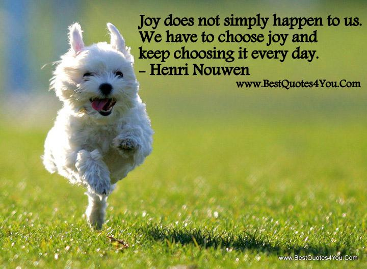 Joy does not simply happen to us. We have to choose joy and keep choosing it every day.Henri Nouwen