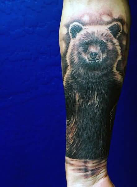 Latest Bear Animal Grey Ink Tattoo For Men Forearm