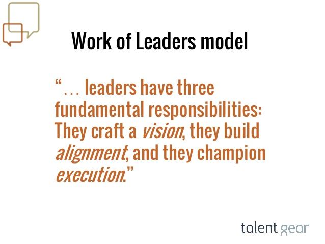 Leaders have three fundamental responsibilities.They craft a vision, they build alignment, and they champion execution