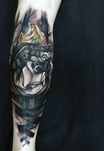 Lovely Bear Face Tattoo Design For Men Lower Arm