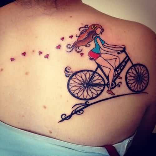 Lovely Bicycle Riding Girl Tattoo Made On Women Back Body