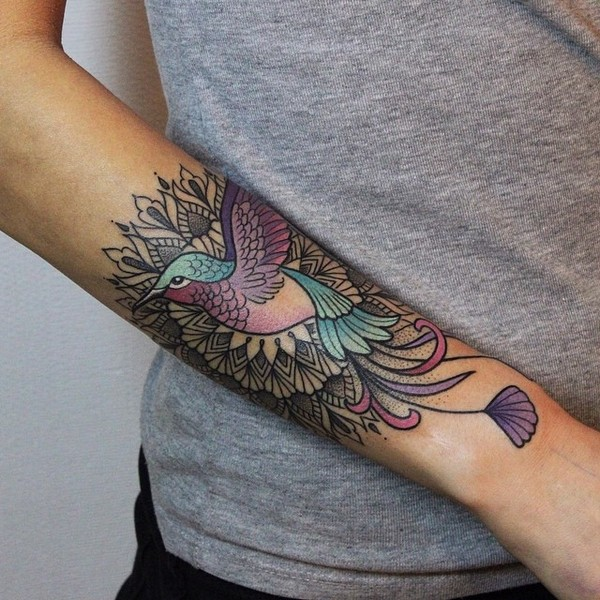 Lovely Bird Tattoo With Mandala Flower Tattoo On Sleeve