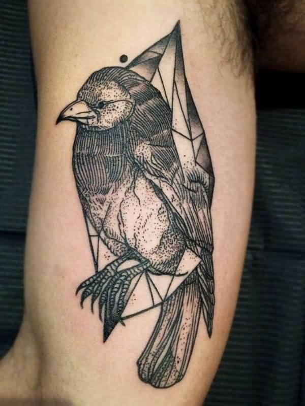 Lovely Black Bird Tattoo Line Design On Men Inner Arm