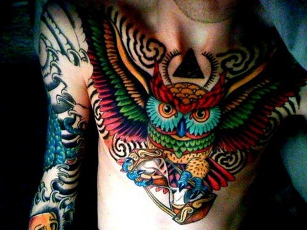 Lovely Colorful Owl Bird With Sand Clock Tattoo On Men Chest