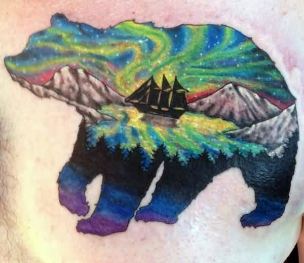 Lovely Colorful Sea In Bear Tattoo Made On Men Chest