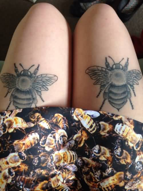 Lovely Couple Bee Tattoo Design For Girl Thigh