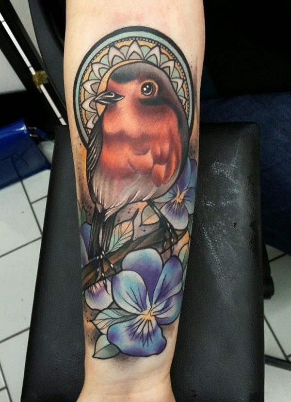 Lovely Cute Bird Tattoo With Flower On Girl Sleeve