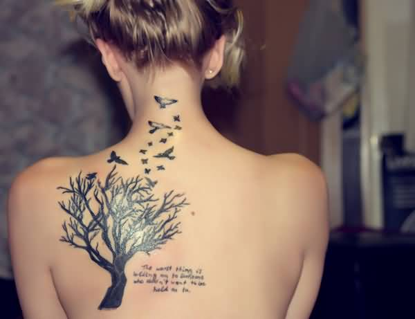 Lovely Grey Ink Dry Tree Bird Tattoo With Quote On Women Back