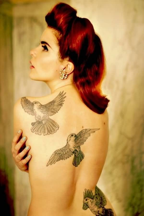 Lovely Pin Up Girl With Amazing Dove Bird Tattoo On Back Body