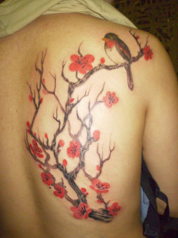 Lovely Red Blossom Flower Tree And Bird Tattoo For Women Back
