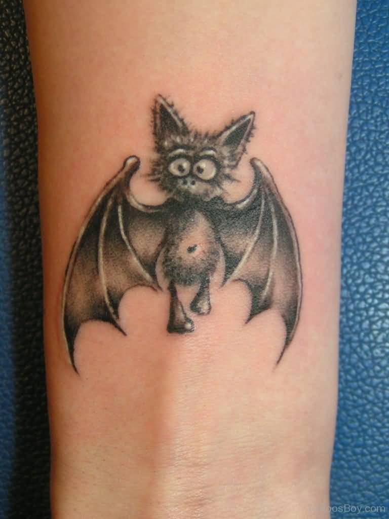 Lovely Small Bat Tattoo Design For Wrist