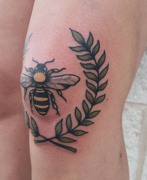 Lovely Small Bee Leaf Vine Tattoo Made On Women Elbow