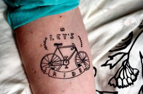 Marvelous Bicycle Banner Tattoo With Quote For Men