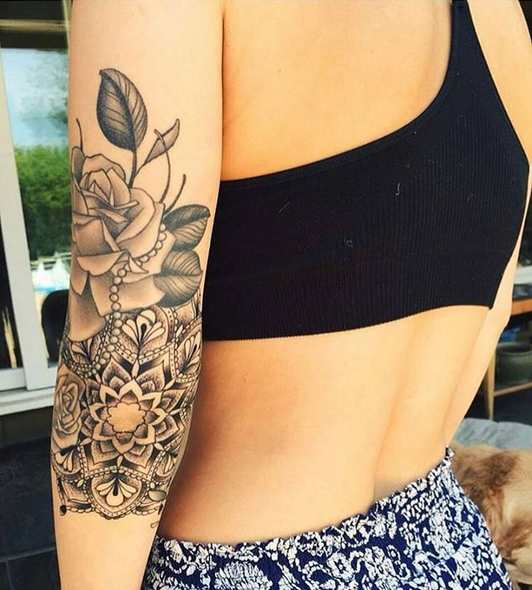 Marvelous Grey Ink Mandala And Rose Flower Tattoo On Girl Elbow