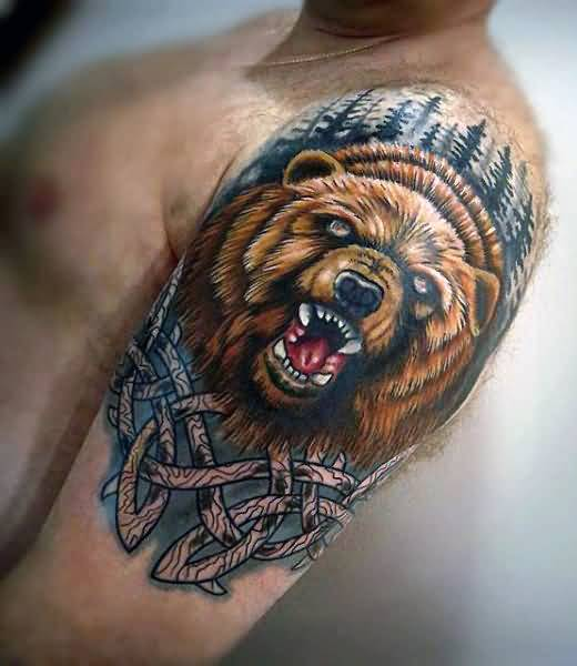 Mind Blowing 3d Bear Face Colorful Tattoo On Men Shoulder