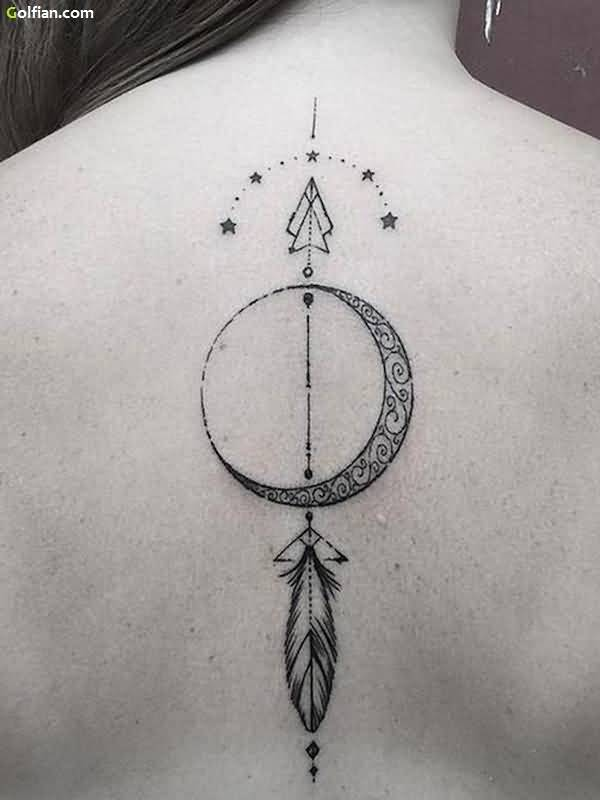 Mind Blowing Arrow and Moon Star Tattoo Design For Women Back Body