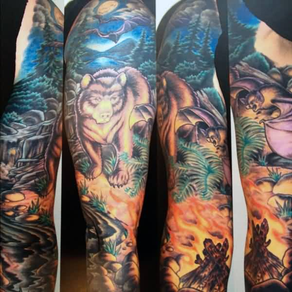 Mind Blowing Bear 3d Face Forest Fire Animated Tattoo For Full Arm