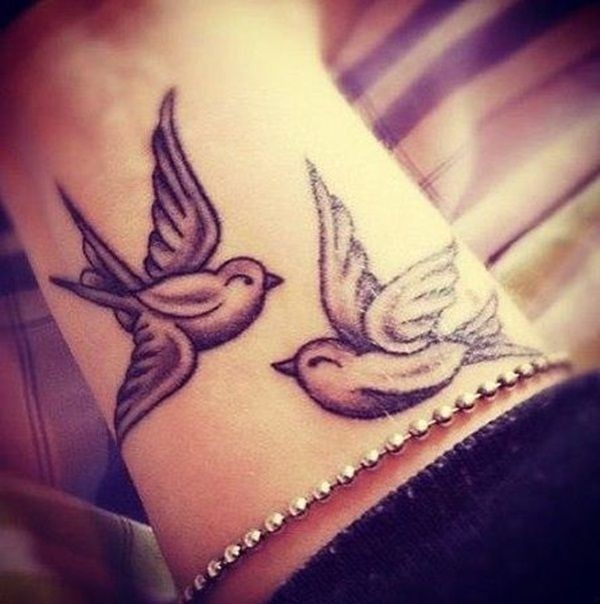 Mind Blowing Cute Love Bird Tattoo Design For Girl Wrist