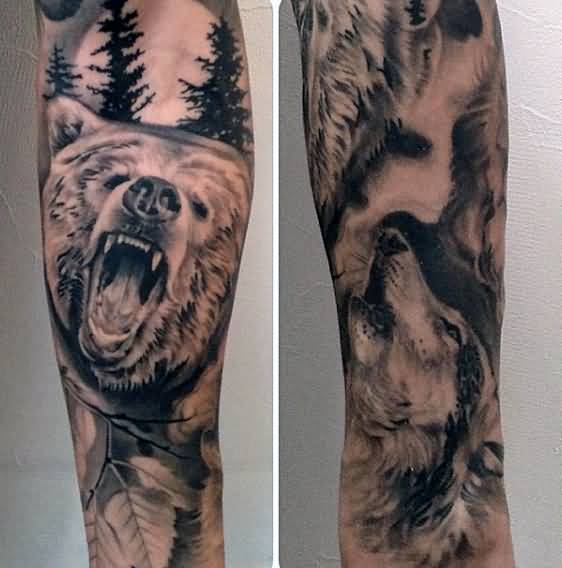 Mind Blowing Grey Bear Face Tattoo Made On Men Sleeve