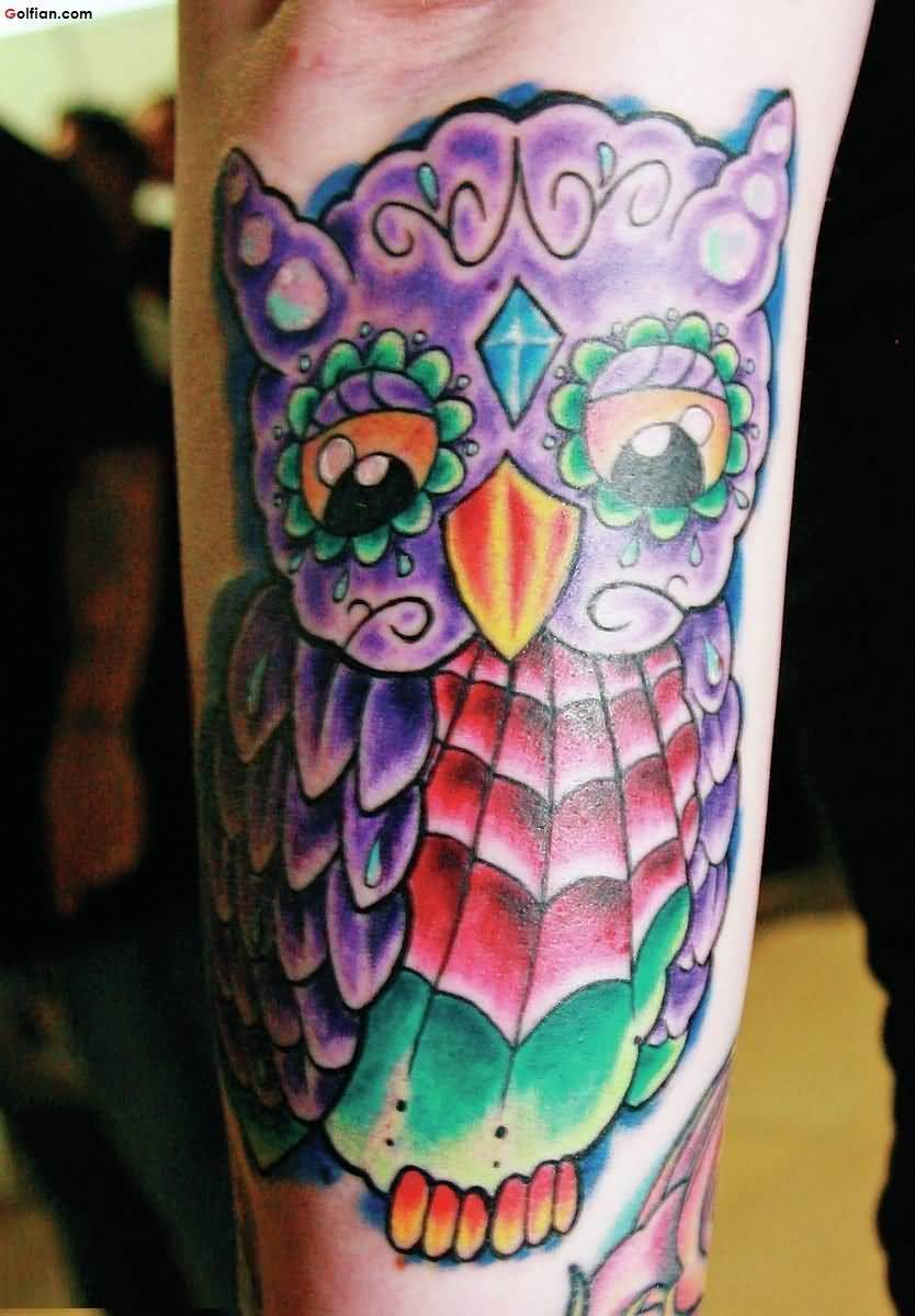Most Amazing Animated Purple Owl Tattoo Design For Men Forearm