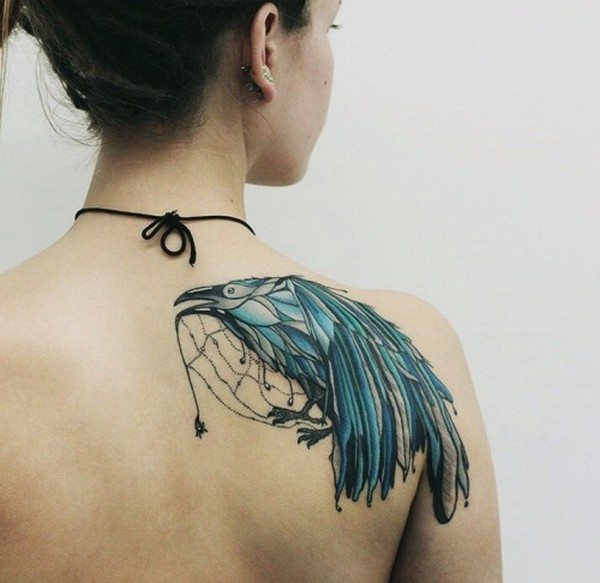 Most Amazing Aqua Crow Bird Tattoo For Girl Back Shoulder