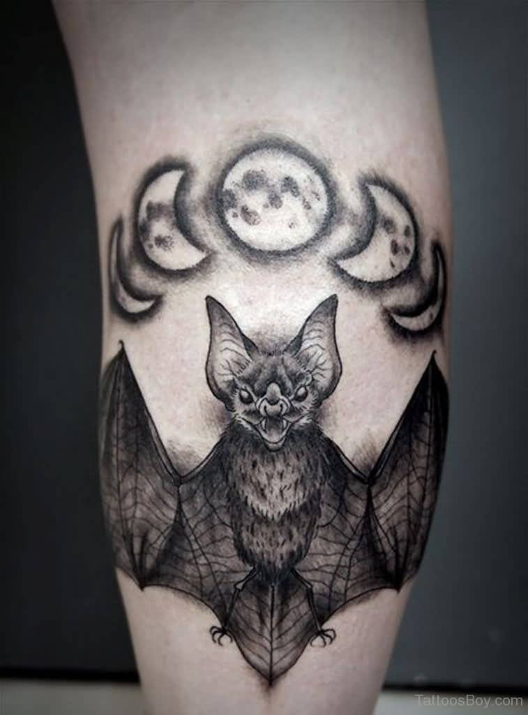 Most Amazing Bat Tattoo with Moon On Calf