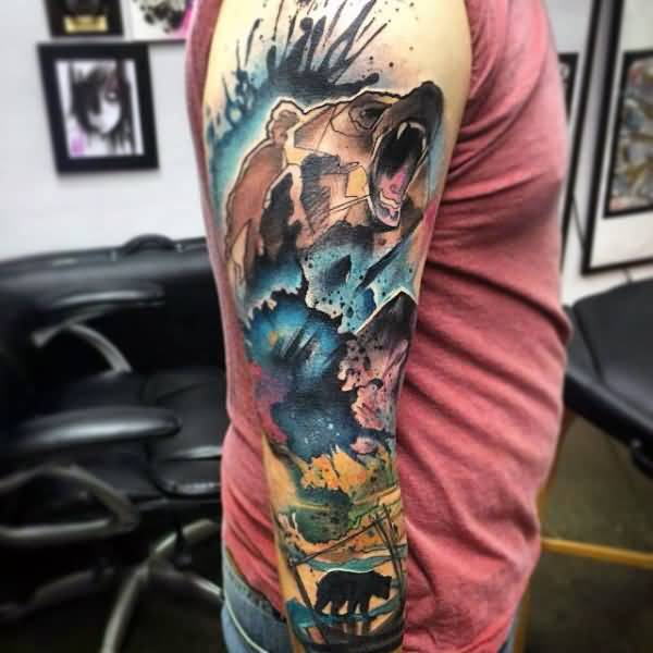Most Amazing Colorful Bear Forest Watercolor Tattoo On Sleeve