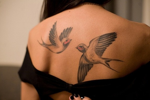 Most Amazing Flying Swallow Bird Tattoo For Girl Back Body