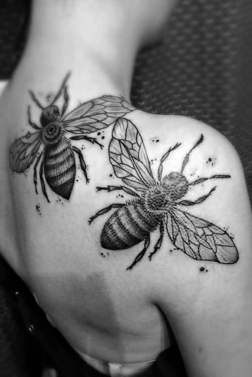 Most Amazing Grey Bee Couple Tattoo Design For Men Back Body
