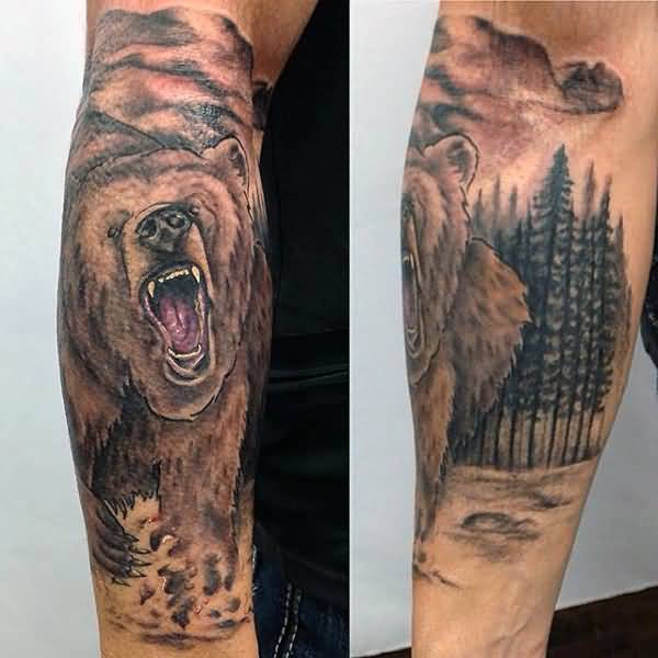 Most Amazing Grey Wild Bear Face Forest Tattoo On Forearm