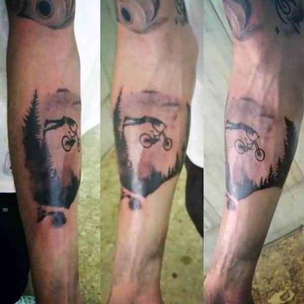 Most Amazing Mountain Bicycle Tattoo On Men Forearm