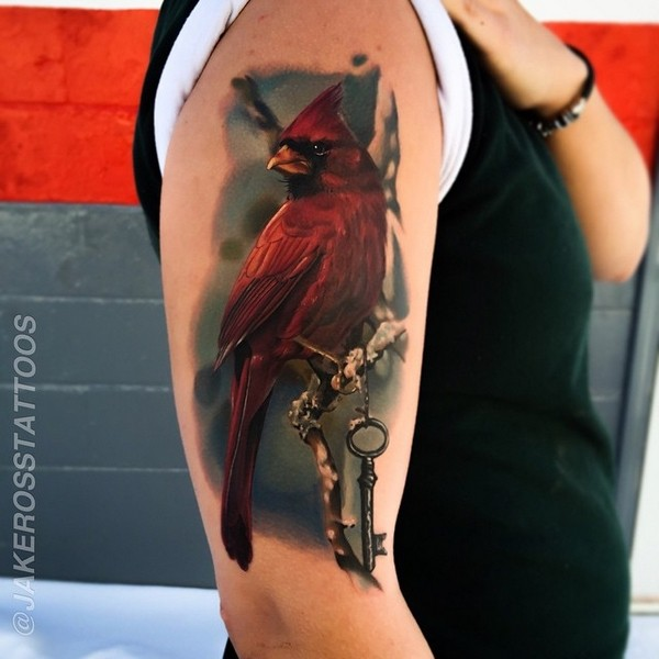 Most Amazing Red Cardinal Bird Tattoo For Men Shoulder