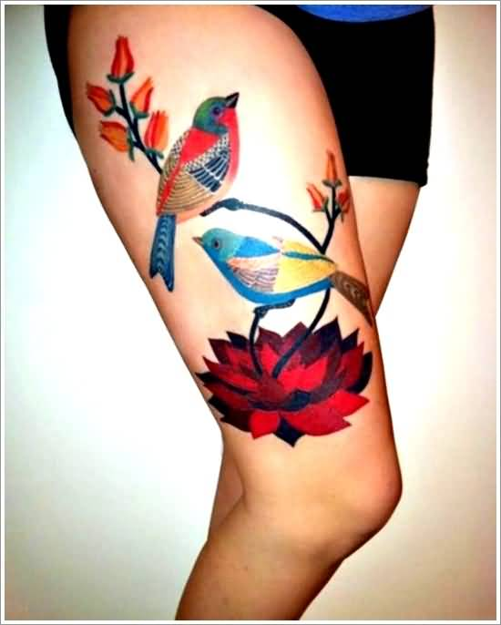 Nice Colorful Bird Lotus Flower Tattoo Idea For Thigh