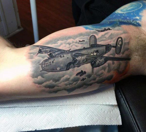 Nice Fighter Plan Bicep Tattoo For Funky Guy