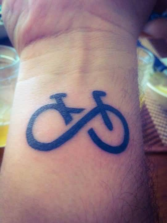 Nice Infinity Bicycle Tattoo For Men Wrist