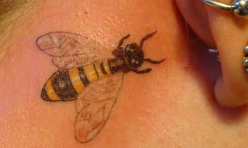 Nice Small Bee Tattoo For Girl Back Ear