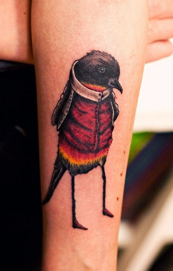 Nice Small Black Baby Bird Tattoo On Girl Sleeve