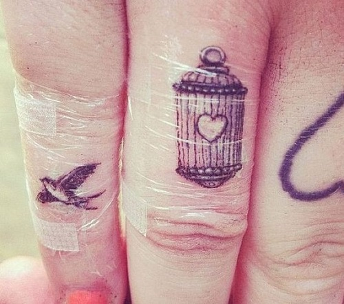Nice Small Cage Bird Tattoo For Women Finger