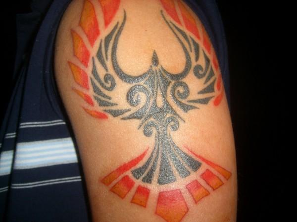 Nice Tribal Bird Tattoo Idea For Men Shoulder
