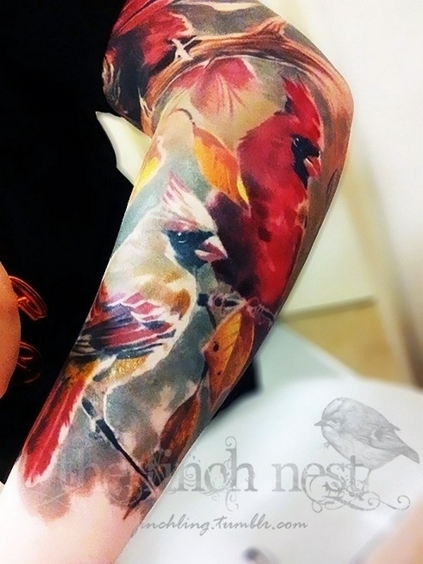 Nice Watercolor Bird Couple Tattoo For Men Sleeve