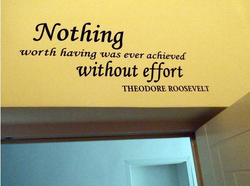 Nothing worth having was ever achieved without effort - Theodore Roosevelt