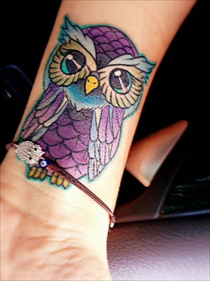 Outstanding Animated Baby Owl Tattoo Design For Women Wrist