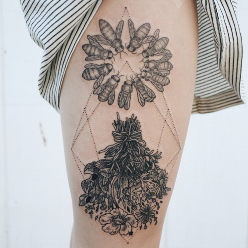 Outstanding Bee Dot Work Flower Tattoo Made On Thigh