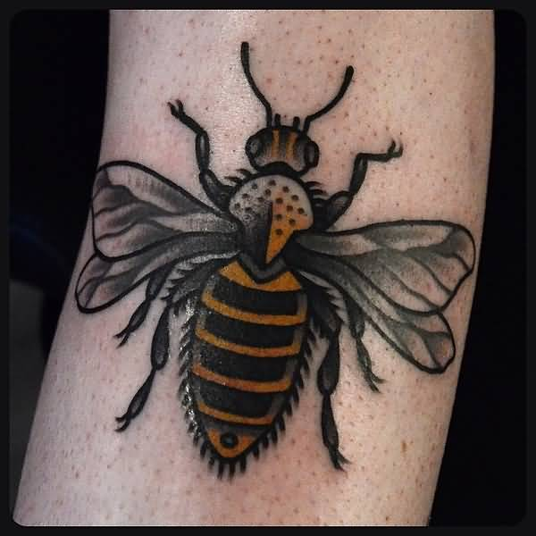 Outstanding Black Bee Tattoo Design For Sleeve