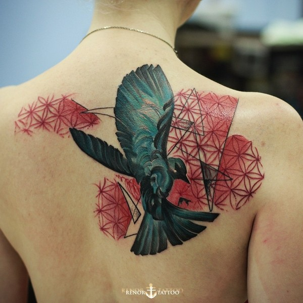 Outstanding Black Crow And Red Pattern Tattoo On Female Back Body