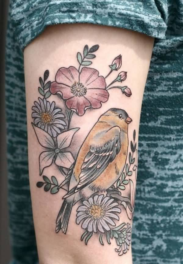Outstanding Love Bird And Flower Tattoo On Girl Arm