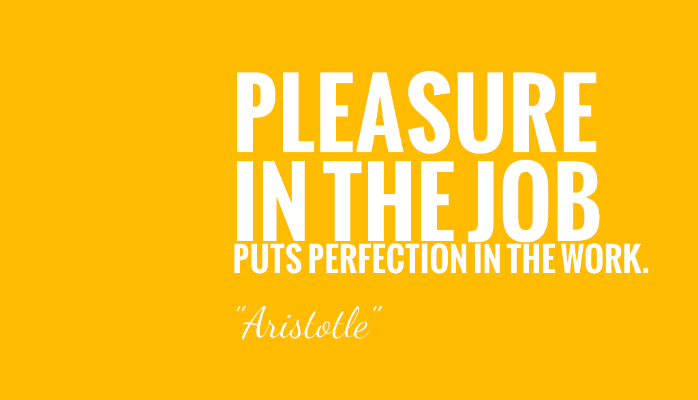 Pleasure in the job puts perfection in the work. Aristotle