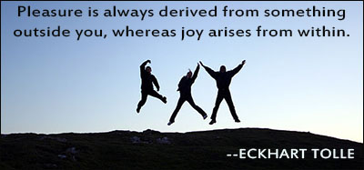 Pleasure is always derived from something outside you, whereas joy arises from within.Eckhart Tolle